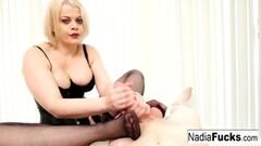 Naughty Blonde beauty gives a handjob Thumb