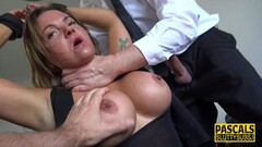 Naughty Handcuffed milf submissive throated for cum Thumb