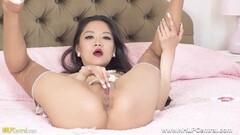 Frisky Asian babe masturbates tight wet pussy in nylons heels Thumb