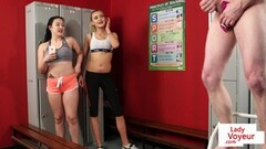 Voyeur gym duo film JOI in fitness locker room Thumb