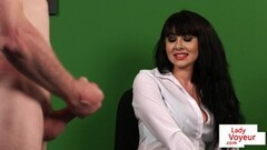 Clothed voyeur enjoys JOI in the office Thumb