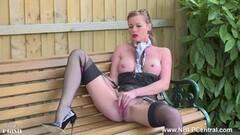 Kinky Milf Holly Kiss wanks in public in nylons garters stilettos Thumb