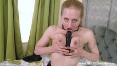 Sexy Blonde office slut toys pussy in stilettos retro nylon Thumb