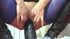 Huge dildo dips deep into mature amateur milf Thumb