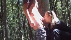 Amateur babe sucking cock outdoors Thumb