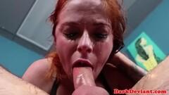 Redhead chokes on this hard cock Thumb