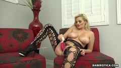 Horny Solo blonde, Katy Jayne is masturbating on cam, in 4K Thumb