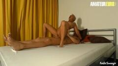 AmateurEuro - Short Hair Mature Rides Hard On BF Stiff Cock Thumb