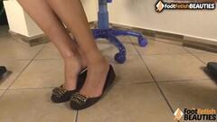 Hot Barefoot brunette foot fetish POV Thumb