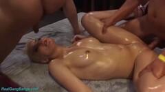 Sexy rough gangbang for oiled flexi milf Thumb