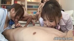 JAVHUB Four Japanese girls take turns fucking four men Thumb