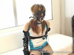Tongue teasing and flogging for blindfolded masked Oriental girl Thumb