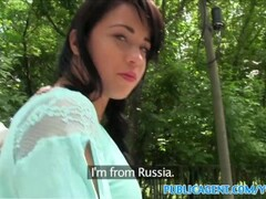 PublicAgent Sexy black haired russian fucked in the woods Thumb