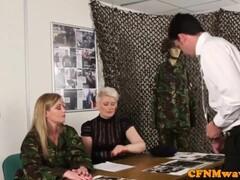 Femdom army milf Holly Kiss tugs recruit Thumb