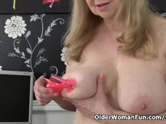 British granny with big tits is a compulsive masturbator Thumb