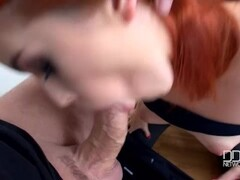 Red head Spanish beauty Amarna Miller Deep Throats a cock Thumb