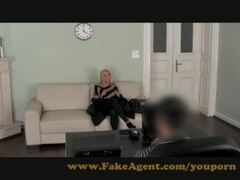 FemaleAgent New sexy blonde agent empties studs balls during first casting Thumb