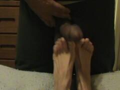 Creamy white feet and black cock & Balls Thumb