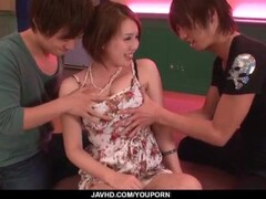 Steamy threesome scenes along mature Yurika Momo Thumb