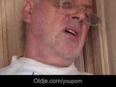 Slutty brunette licks oldman wrinkled skin and fucks him Thumb