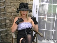 Sexy blonde smoking seductively flashing pussy in leather gloves and nylons Thumb