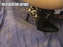 Redhead mistress digs leather boot in as she sucks and wanks studs big cock Thumb