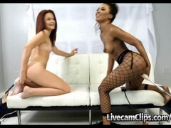 Live Cam Redhead And Ebony Girls First Time On Dildo Sex Machines Thumb