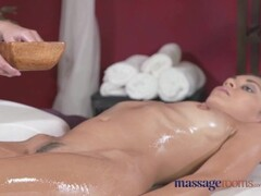 Massage Rooms Sexy blonde lesbian fills cute brunette up with oily fingers Thumb