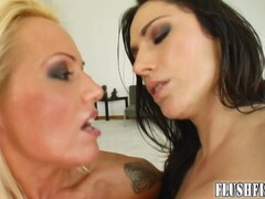 Closeup action where hot babes fist each other Thumb