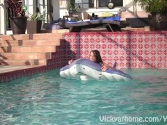 Bombshell MILF Vicky Vette With College Girl In Hot Lesbian Pool Action! Thumb