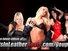 Sexy Milf loves to tease in sheer stockings and slutty red leather boots Thumb