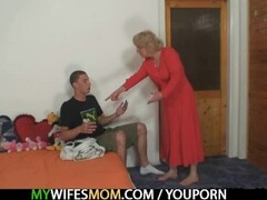 Mother-in-law fucks him and wife comes in Thumb