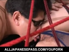 Mei Haruka is tied in ropes and fucked in mouth and pussy by men Thumb