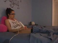 Shy nerdy girl masturbates under the sheets in pajamas Thumb