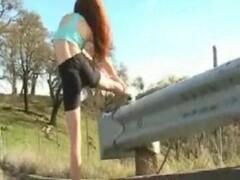Nude in public jogging redhead Thumb