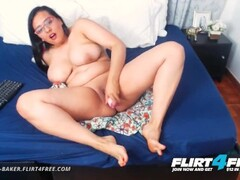 Flirt4Free - Dayana Baker - BBW Latina Dildos Herself While Playing w Tits Thumb