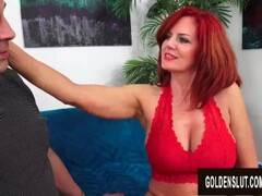 Beautiful Older Redhead Andi James Gorges Herself on Man Meat Thumb
