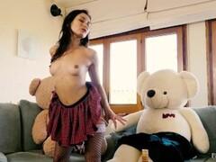 Italian beauty Valentina Bianco 3some sex scene with teddy bears Thumb