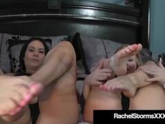 Pantyhosed Cougars Rachel Storms & Diamond James Show Their Stockinged Feet Thumb