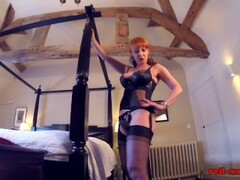 British redhead Red fingers her juicy pussy in lingerie Thumb
