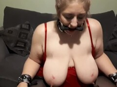 Elle Moon BBW Foot Fetish Red Satin Nightdress Knee High Boots and Bit Gag Thumb