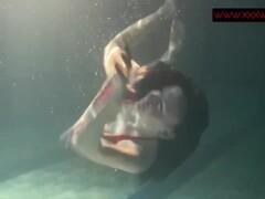 Underwatershow with tiny Siskina BIG BOOBS Thumb