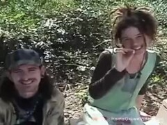 Real amateur hippie couple fucking in public Thumb