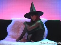 Sexy Red Haired Witch Strips, Masturbates,Sucks Cock and takes a Facial. Thumb