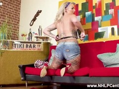horny busty blonde rockabilly chick louise lee wanks in fishnet pantyhose Thumb