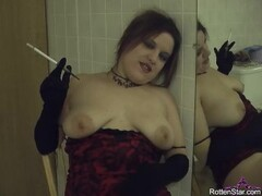 Smoking Vintage Holder and Gloves in the Bathroom - Amateur Hot Wife Clip Thumb