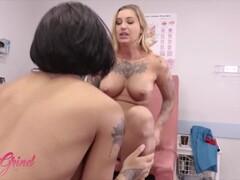 GirlGrind - Ebony nurse Honey Gold worships Dr Kleio Valentien's pussy Thumb