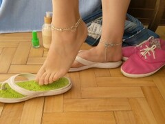 FOOT SHOW -- Dry sticky cum on flip flops and painting toes bright green Thumb