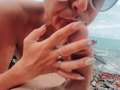 Blonde with a cool ass gets fucked on the beach / CherryAleksa Thumb