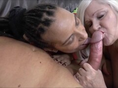 Petite Ebony MILF gets throat fucked by giant white cock Thumb